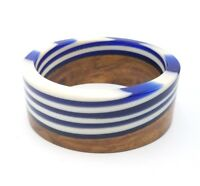 Vintage Lucite and Wood Bangle Bracelets Navy Blue & White