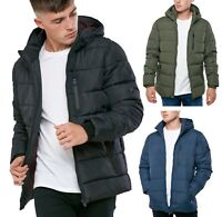 Mens Matrix Fashion Quilt Puffer Jacket Padded Warm Hooded Outdoor Winter Coat