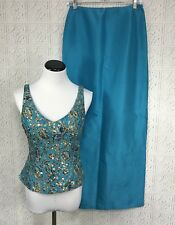 Chetta B Silk 2 Piece Evening Dress Beaded Sleeveless Turquoise Sz 4 Gold Sequin