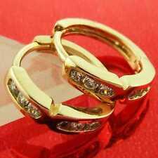 FS879 GENUINE 18K YELLOW G/F GOLD SOLID DIAMOND SIMULATED HUGGIE HOOP EARRINGS