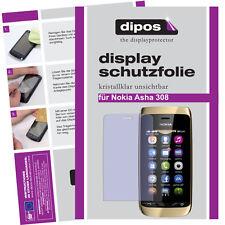 1x Nokia Asha 308 protectoras TRANSPARENTES para protector de pantalla Lámina invisible Display