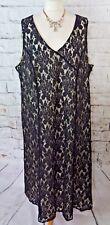"ANN HARVEY dress 22 bust 50"" midi black lace shift party flattering plus size"