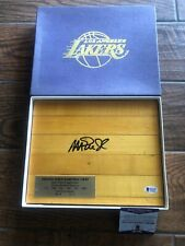 Magic Johnson LAKERS Signed Game Used Forum Floor Beckett COA Witnessed W/ Box