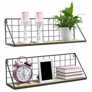 Floating Shelves Wall Mounted Rustic Wood Storage Set for Picture Frames Collect