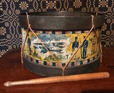 Rare Antique Primitive Nonpareil American Military Tin Drum Set Litho Toy Aafa