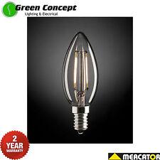 NEW Mercator 2W LED Candle E14 Small Screw Light Bulb Globe Clear Warm 9E14LED12