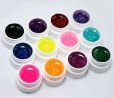 Set of 12 nail glitter gel acrylic colours nail art traditional for UV