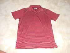 Grand Slam Mens Collared Shirt Red Striped M Medium Slim Fit