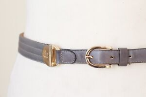 Grey Vintage Belt - Slim - Chain Link - Leather 1980s - X Small