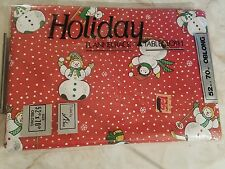 "52"" X 70"" CHRISTMAS HOLIDAY SNOWMAN FLANNELBACK OBLONG TABLECLOTH STYLED BY LISA"
