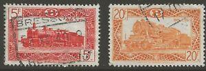 Belgium Parcel Post Railway Stamp: Locomotive 1920 - T.38 Scott Q315 Q321 ULH