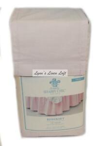 "SIMPLY SHABBY CHIC Angora Pink TWIN BEDSKIRT RACHEL ASHWELL 15"" DROP NEW"