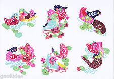 Chinese Paper Cuts Pair Mandarin Ducks Set Colorful 10 small Single pieces Chen
