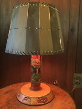Vintage Pacific Northwest Coast Carved Totem Pole Lamp All Original Wooden Shade