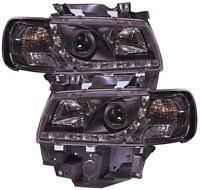 For VW Transporter T4 96-03 Longnose Black DRL Projector Headlights Lamp