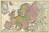 ANTIQUE MAP OF EUROPE - MAPA DE EUROPA - POSTER / PRINT (SPANISH VERSION)