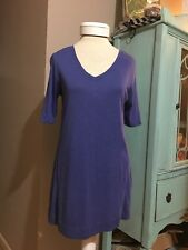 J. Jill Prima Cotton Elbow Sleeve Tunic Shirt Size XS X-small Purple