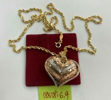 Gold Authentic 18k gold heart pendant and chain 18""