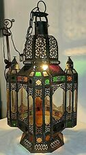 Gorgeous Antique Vtg Pierced Tin Stained Glass Moroccan Chandelier Hanging Light
