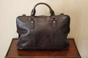 Jack Spade Brown Leather Boston Bag Shoulder Duffle Tote Laptop
