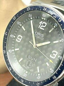 Oris Mens Watch 7595 Automatic Swiss Black Dial Rubber Strap 42mm High mech USED