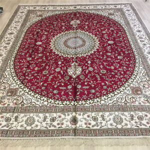 YILONG 8'x10' Oversize Hand Knotted Silk Porch Carpet Red Handmade Area Rug 095C