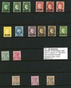 St Helena QV to KGV Fine Mint Hinged Selection on two stock pages.