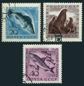 Russia 2375-2377 two sets, CTO. 1960. Pikepearsh, Fur seals, Ludogan white.