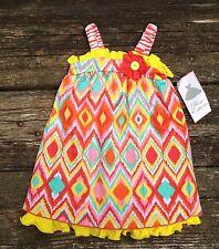 NEW Girls Rare Editions Sun Dress Size 5 Orange Yellow Turquoise Tribal Print