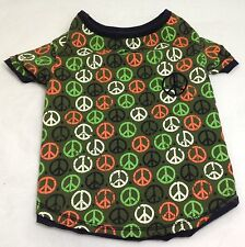Simply Dog 101, Medium Dog Shirt, Green with Peace Signs