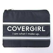 "New Cover Girl CG Black & White Zipper Cosmetic Makeup Bag ""I Am What I Make Up"""