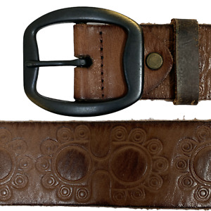 Mens Vintage Leather Belt Brown Size 75 cm 30 inches Embossed P5