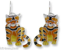 Zarah Zarlite Golden TABBY CAT EARRINGS Sterling Silver Plated Enamel - Gift Box