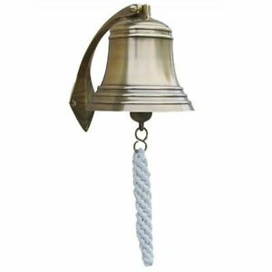 Ship's Bell With Wall Bracket, Antique Brass Wall Lanyard Ø 15 CM