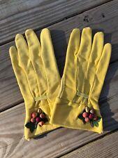 Vtg Cotton GARDENING Yellow GARDEN GLOVES Women's Kleenettes By GOODLUCK