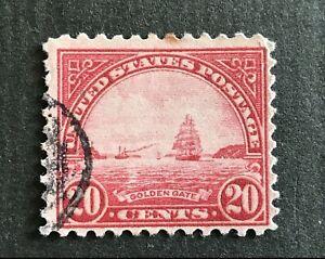 US Postage Stamp #567, 1923  20¢ Golden Gate, Carmine Rose, Perf 11. VF. Used