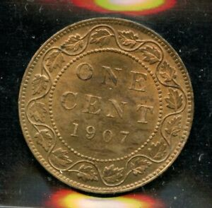 1907H Canada Large Cent - ICCS MS-63 Red and Brown