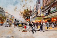Boulevard Montmartre, Paris Painting by Edouard Leon Cortes Reproduction
