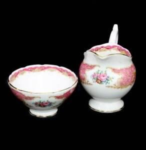 Exquisite vintage Coalport Montrose Pink cream jug and sugar bowl