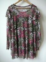 New Ex Evans Pink Floral Mesh Frill Sleeve with Camisole Blouse Top Plus Size 24