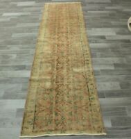 Pale Orange Runner Rug Turkish Hand Knotted Vintage Wool Ethnic Carpet 3x10 ft.