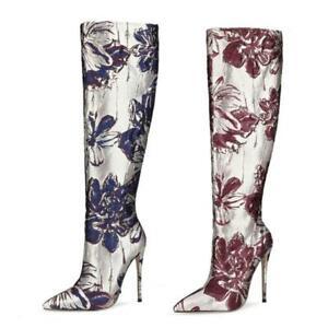 Knee High Boots Pointy Toe Women 10-12cm High Heel Stilettos Shoes 47 46 45 44 L