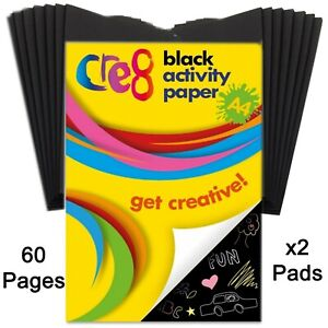 A4 Black activity paper pad drawing art creative scrapbook craft cardmaking fun