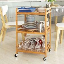 SoBuy® Servierwagen,Küchenwagen,Badregal,Rollwagen aus Bambus,FKW11-N
