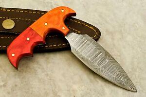 CK CUSTOM HAND MADE DAMASCUS Art Hunter Skinner Knife - # W-3494
