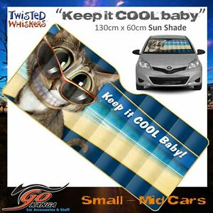 TWISTED WHISKERS WINDSCREEN SUN SHADE SMALL-MED CARS KEEP IT COOL BABY CAT LOVER