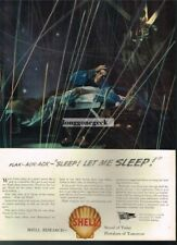 1943 Shell Oil WW2 Finds Cure for Pilots Lack of Sleep art Vtg Print Ad