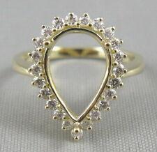 Pear Cut 9×13mm Solid 14K Yellow Gold Natural Full Cut Diamond Semi Mount Ring