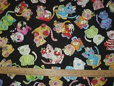 Cotton Fabric Loralie Designs Calico Toss on black bright Cat Kitten   BTY