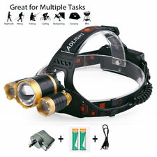 Rechargeable LED Flashlight 3000LM 3T6 XML Waterproof Headlamp Headlight Hiking